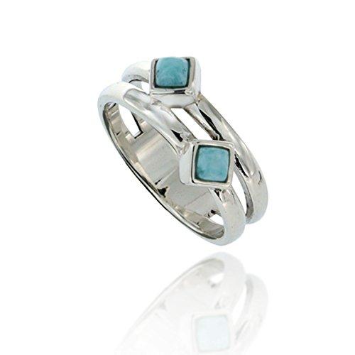 Chuvora 925 Oxidized Sterling Silver Blue Square Larimar Double Bar Band Minimalist Gemstone Ring Size 7