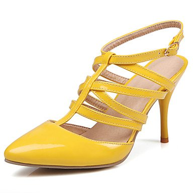 Patent Look Slingback - RainbowElk Women's Heels Spring Summer Fall T-Strap Slingback D'Orsay & Two-Piece Gladiator Patent Leather Party & Evening Dress Casual Stiletto Heel, yellow, us10.5/eu42/uk8.5/cn43