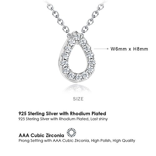 Ashley Jeweller Sterling Silver Open Teardrop with Cubic Zirconia Stone Pendant Necklace 18 inch
