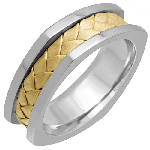 Two Tone Platinum and 18K Yellow Gold Braided Basket Weave Men's Wedding Band (7.5mm) Size-15.5c2