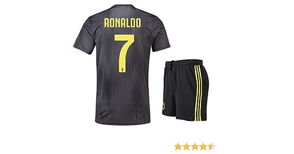 Amazon.com  Lakivde Kids Ronaldo New Away Jerseys 18-19 Juventus  7  Football Jersey Soccer Jersey Black(S-XL)  Clothing 7183fceb3