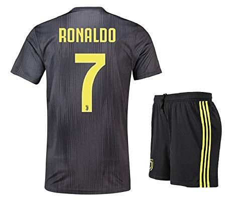 low priced 44809 15026 Lakivde Kids Ronaldo New Away Jerseys 18-19 Juventus #7 Football Jersey  Soccer Jersey Black (L)
