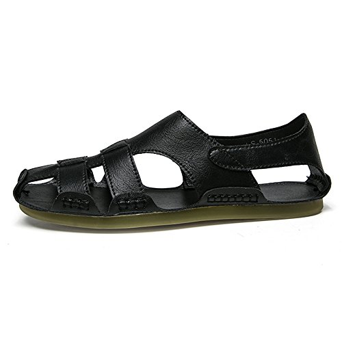 da 3 uomo Sandali scarpe sportivi pescatore EU Sandali Black Color da spiaggia 40 all'aperto estivi Gray Sandali 2 Size pelle da in spiaggia da qz1zCw