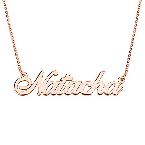 HACOOL 925 Sterling Silver Personalized Name Necklace Customized with Name Pendant Chain (Rose Gold Plated Silver)