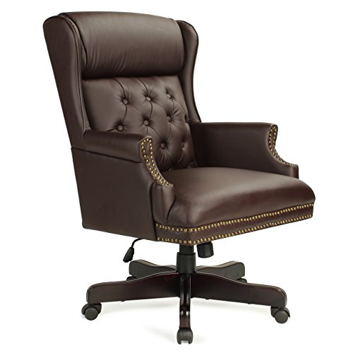 Belleze Wingback Traditional High Back Classic Button Tufted Styling Office Leather Chair with Mahogany Wood Base, Brown (Leather Wingback)