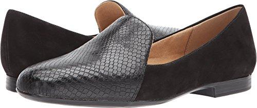 Heels Loafers Naturalizer (Naturalizer Womens Emiline Loafer,Black Nubuck/Snake Print,US 9 M)