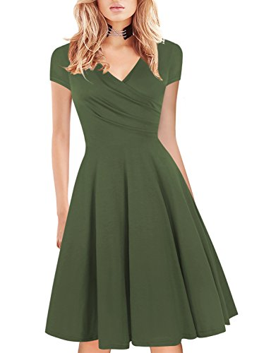 Beach Comfortable Simply Prom for Women Elegant Vintage 50s 70s Swing Wear to Work Party Dress 163 Green L