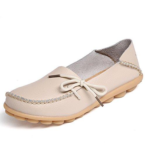 Lucksender Frauen Rindsleder Lace-Up Driving Schuhe Loafers Bootsschuhe Beige