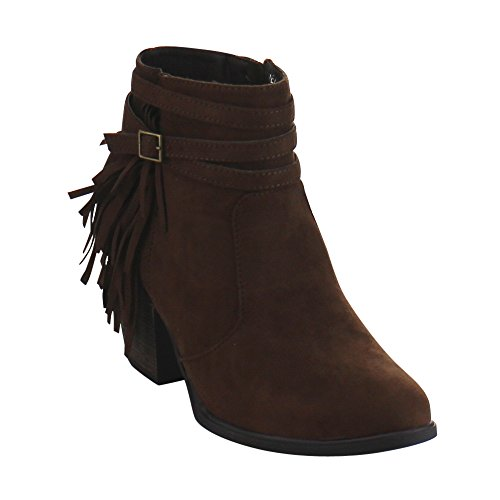 dollhouse Demeanor Womens Fringe Buckle Strap Accent Chunky Heel Ankle Booties Brown buZIb2