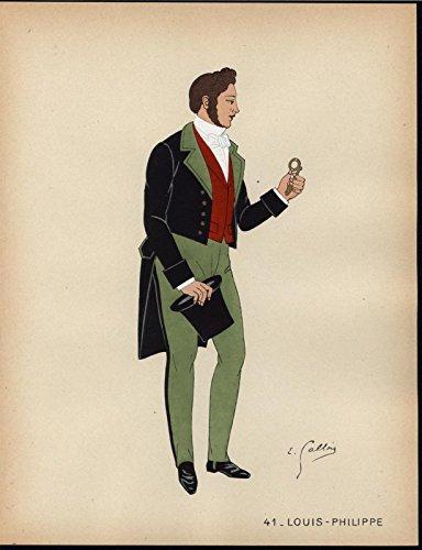 Waistcoat Colour (Well Dressed Gentleman Crimson Waistcoat c.1930 vintage hand color fashion print)