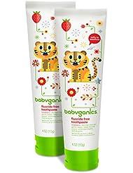 Babyganics Fluoride Free Toothpaste, Strawberry, 4oz Tube (Pack of 2)