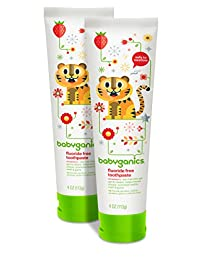 Babyganics Fluoride Free Toothpaste, Strawberry, 4oz Tube (Pack of 2) BOBEBE Online Baby Store From New York to Miami and Los Angeles