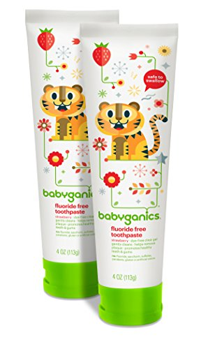Babyganics Fluoride Free Toothpaste, Strawberry, 4oz Tube (Pack of 2) (Best Toothpaste For Toddlers)