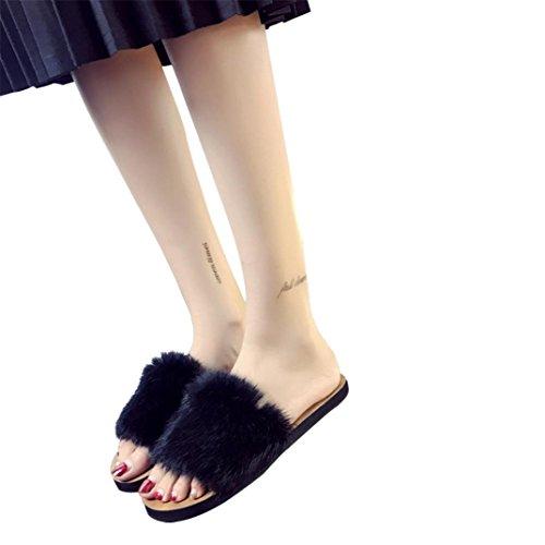 Nero Donna scivolare pelliccia donne Scarpe Donna birichino Faux cursori Estate piatta sandalo pantofola Sandali donna su Yanhoo qtaUfwx