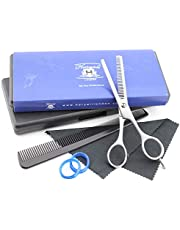 Haryali London Professionell 5,5 tum barberare tänder uttunning klippsax hårstruktursaxar med kam och oljelåda levereras i ett Haryali-märkt fodral