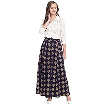 Stylum Women's Gold Printed Rayon Short Shirt & Skirt Set