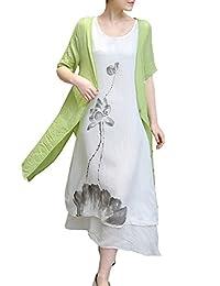 Azbro Women's Chinoiserie Print Loose Short Sleeve Cotton Linen Dress