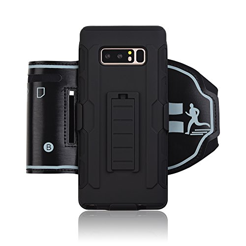 Samsung Galaxy NOTE 8 sports armband [Kickstand] Shockproof Rugged Three-Layer Case With Rotating Stand Combo Holster and Belt Swiel Clip for Samsung Galaxy Note 8