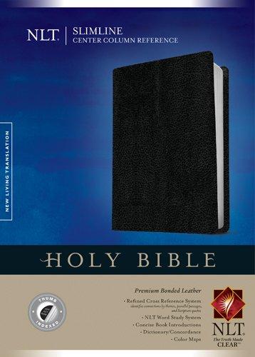 Slimline Center Column Reference Bible NLT (Red Letter, Bonded Leather, Black, - Leather Bonded Index