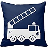 Fire Truck Throw Pillow Case In Navy Blue White
