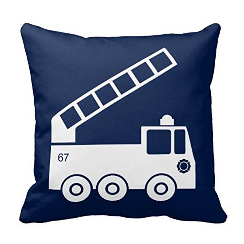 wSl5tGa Fire Truck Throw Pillow Case in Navy Blue White