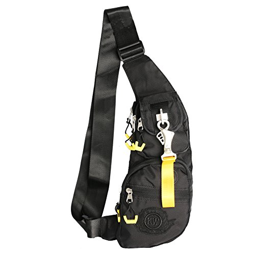 Kawei Knight Nylon Sling Bag Backpack (Black Nylon Sling)