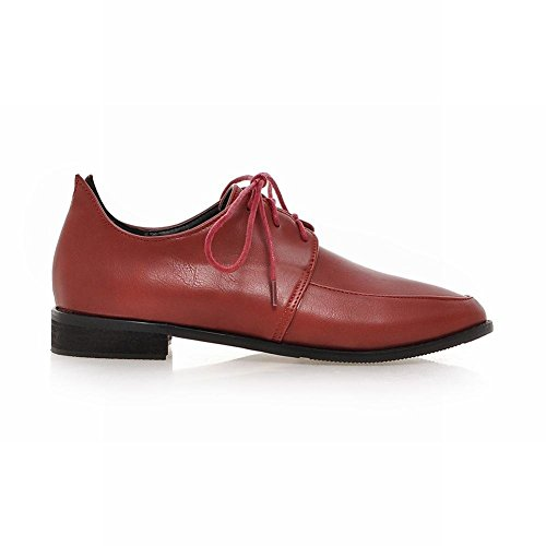 Latasa Moda Donna Scarpe Stringate Basse Oxford Tacco Basso Color Rosso Chiaro