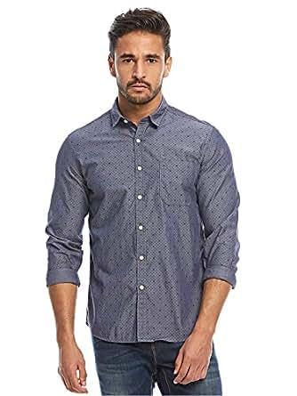Flying Machine Blue Shirt Neck Shirts For Men