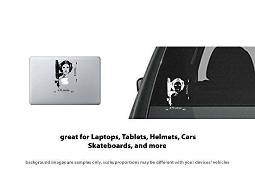 Leia Sticker - 4x Carrie Fisher Princess Leia Vinyl Decal Sticker Laptop, Tablet, Truck Window Star Wars #60428 - Black