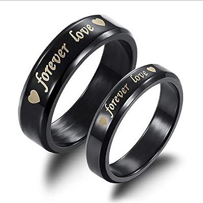 Titanium Steel Forever Love Wedding Anniversary Gift Black Couple