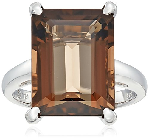 [Sterling Silver Emerald Cut Smoky Quartz Semi Precious Ring, Size 7] (Emerald Cut Smoky Quartz Ring)
