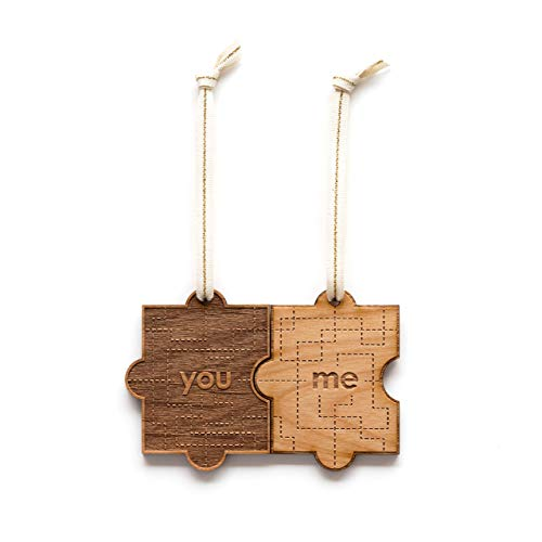 You & Me Puzzle Piece Laser Cut Wood Ornament (Valentine's Day/Christmas/Holiday/Love/Anniversary/Couples) -