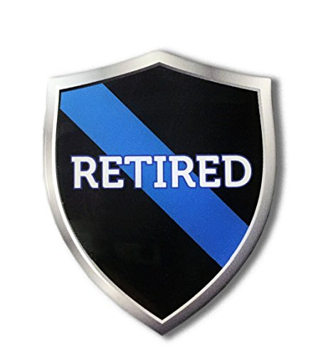 - Thin Blue Line RETIRED Police Shield Proud Domed Decal Emblem Sticker 3D 2.3x 3