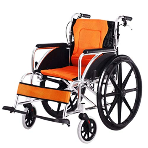 ortable Wheelchair, Detachable, Wheelchair with High Handle, Sponge Pad, Adjustable Pedal, Foldable Aluminum Wheelchair, Orange, b ()