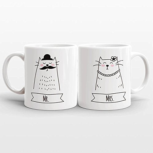 MR and MRS Mugs Set, Cat Wedding Gift for Couple Gift, Best Selling Items, Cat Mugs Animal Couple Mugs, Engagement Gift Mr and Mrs Gift Idea