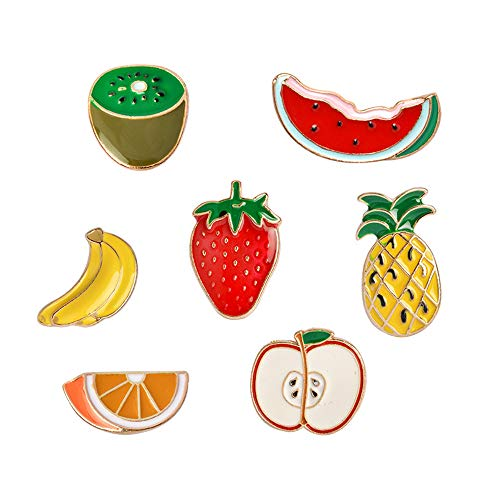 Hat Pin Brooch - Cute Enamel Lapel Pins Set Cartoon Animal Plant Floral Fruits Foods Brooches Pin Badges for Clothing Bags Backpacks Jackets Hat DIY (Kiwi orange apple banana fruits set of 7)