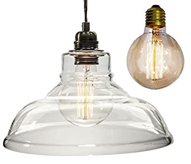 Vintage Glass Shade Chandelier Pendant Ceiling Light with Globe ...