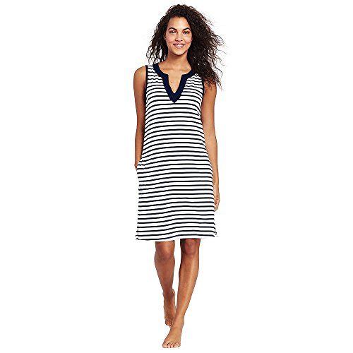 Lands' End Women's Cotton Jersey Sleeveless Tunic Dress Swim Cover-up Print, L, White/Deep Sea Stripe from Lands' End