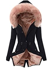 Sumen Women Ladies Fur Lining Coat Winter Warm Thick Long Jacket Hooded Overcoat