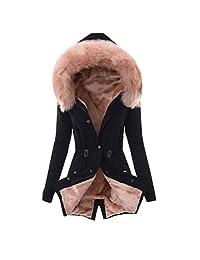 Womens Hooded Warm Winter Coats with Faux Fur Lined Outwear Jacket Thicken Hood Parka Overcoat Long Jacket Outwear