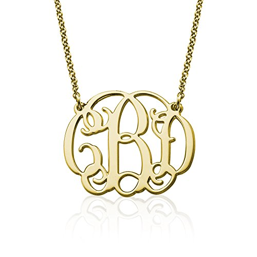 18k Yellow or Rose Gold Plated Silver Fancy Monogram Necklace - Custom Made Pendant with any (Custom Made Fashion)