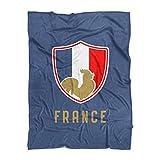 500 Level France Throw Blanket - Navy 60'' x 80'' France Soccer Shield
