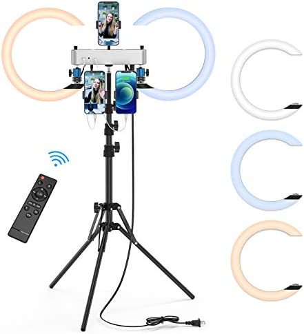 12 inch Ring Light, Dual Ring Selfie Light with Extenbable Tripod Stand & 3 Phone Holders, 3 Light Modes LED Makeup Light with Remote for Live Stream/YouTube, Compatible with iPhone, Android (Large)