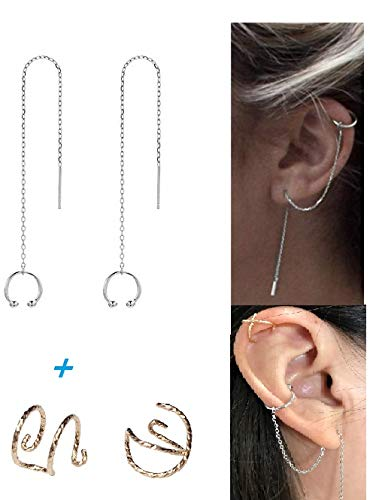 (GOLD XIONG PADISHAN 4pcs 925 Sterling Silver Tassel Earrings & no Piercing Ear Cuff Double line Earrings Set Women wrap Crawler Earrings Silver)