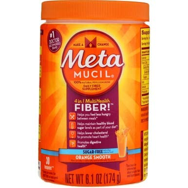 Free Sugar Supplement Flavored Fiber - Meta-mucil Multihealth Fiber #1 Doctor Recommended Brand and 100% Natural Psyllium Husk Sugar Free Daily Fiber Supplement of Orange Smooth Fiber Powder and Naturally and Artificially Flavored- 3 Pack of 30 Doses or 6.1 Oz (90 Doses Total)