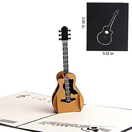 Amazon Heartmoon Greeting Card Guitar 3d Pop Up Cards Thank