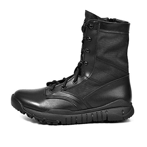 YYIN Men's Combat Boots Desert Boots Breathable Hiking Shoes Safe and Comfortable Outdoor Boots Anti-Slip Work Hiking Boot (Color : Black, Size : 41)