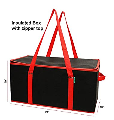 3 Piece Set - 2 Extra Large Earthwise Collapsible Reusable Grocery Shopping Box Bag Plus 1 Extra Large Leak Proof Insulated Grocery Box Bag. Perfect for Supermarket, Walmart, Costco, Sam's Club