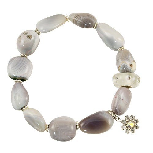 Resin Stretch Bracelet (Polished Botswana Agate Stones with Resin CZ Clear Accent Bead - Stretch Bracelet)