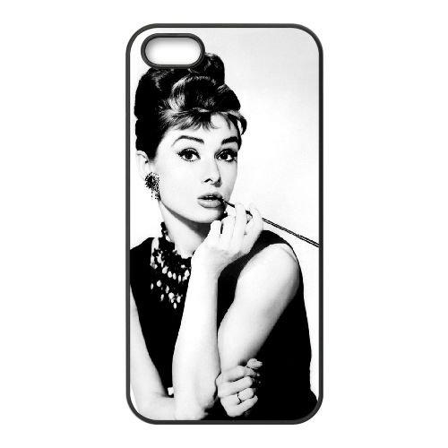 Audrey Hepburn 009 2 coque iPhone 5 5S cellulaire cas coque de téléphone cas téléphone cellulaire noir couvercle EOKXLLNCD21813